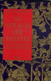 Cover So sprach der Meister